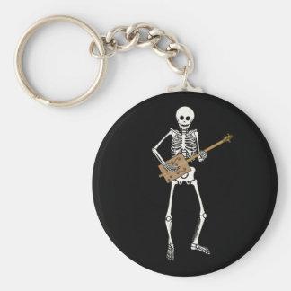 Cigar Box Guitar Skeleton Basic Round Button Keychain