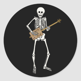 Cigar Box Guitar Skeleton Classic Round Sticker