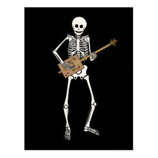 Cigar Box Guitar Skeleton Postcard