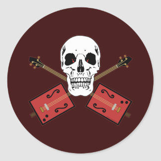 Cigar Box Guitar Skull Classic Round Sticker