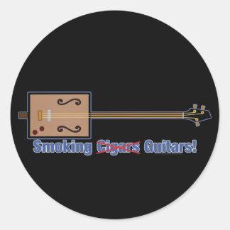 Cigar Box Smoking Guitars Classic Round Sticker