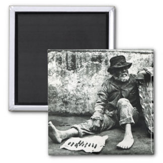 Cigar-end Seller, c,1865 (b/w photo) 2 Inch Square Magnet
