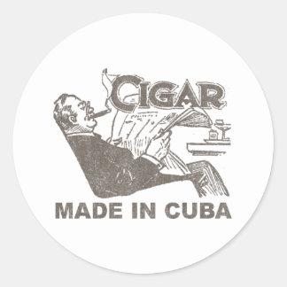 Cigar Made In Cuba Classic Round Sticker