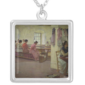 Cigar Makers at Seville Square Pendant Necklace