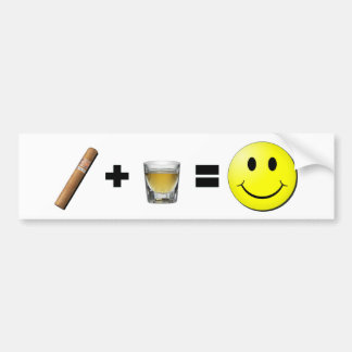 Cigar + Shots = Happiness Car Bumper Sticker