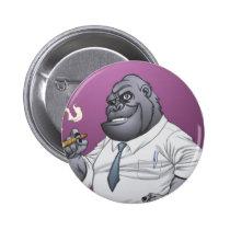 gorilla, cigar, smoking, business, man, al rio, thomas mason, art, illustration, drawing, Button with custom graphic design