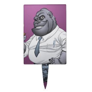 Smoking Business Man Boss Gorilla by Al Rio Rectangle Cake Topper