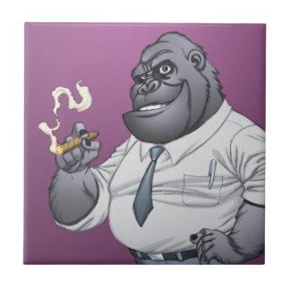 Cigar Smoking Business Man Boss Gorilla by Al Rio Ceramic Tile