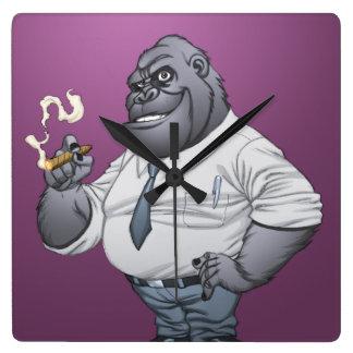 Cigar Smoking Business Man Boss Gorilla by Al Rio Wallclock