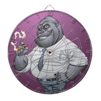Cigar Smoking Business Man Boss Gorilla by Al Rio Dartboard With Darts