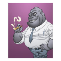 gorilla, cigar, smoking, business, man, al rio, thomas mason, art, illustration, drawing, Flyer with custom graphic design