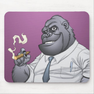 Cigar Smoking Business Man Boss Gorilla by Al Rio Mouse Pad