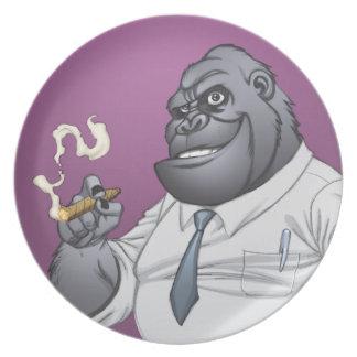 Cigar Smoking Business Man Boss Gorilla by Al Rio Plate