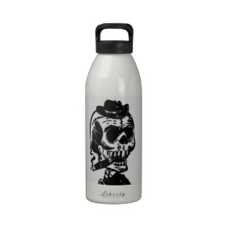 Cigar Smoking Skeleton Reusable Water Bottle