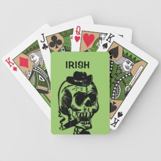 Cigar Smoking Skull Green Bicycle Playing Cards
