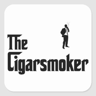 Cigar Smoking Square Sticker