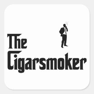 Cigar Smoking Square Stickers