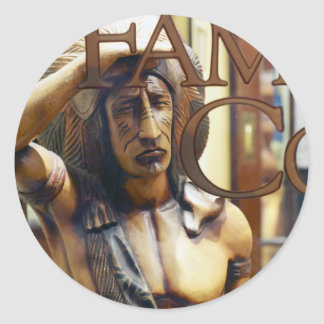Cigar Store Indian Round Stickers