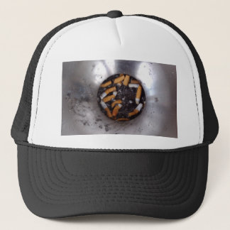 Cigarette Butts in Silver Smokers Ashtray, Funny Trucker Hat