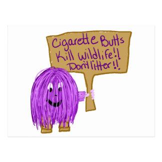 cigarette butts kill wildlife! don't litter! postcard