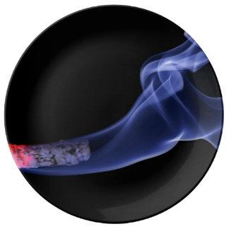Cigarette smoke porcelain plate