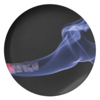 Cigarette smoke party plates