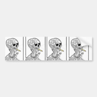 Cigarette Smoking Skeleton Bumper Sticker