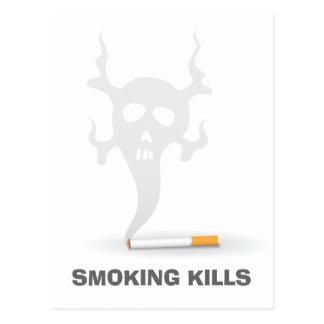Cigarette with scull smoke, anti smoking postcard
