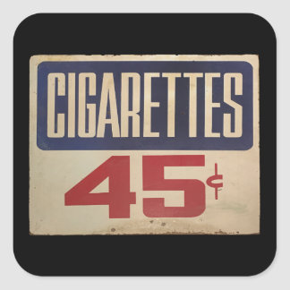 cigarettes 45¢ square sticker