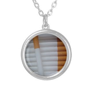 Cigarettes Funny Smokers Background Silver Plated Necklace