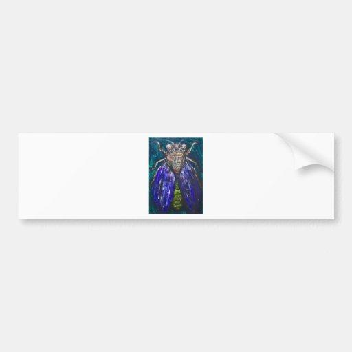 Cigarra azul (pintura surrealista del insecto del  etiqueta de parachoque