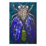Cigarra azul (pintura surrealista del insecto del  papelería de diseño