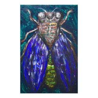 Cigarra azul (pintura surrealista del insecto del papeleria de diseño