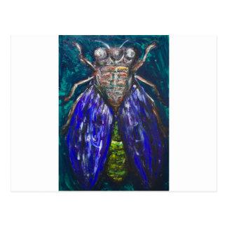 Cigarra azul (pintura surrealista del insecto del postal