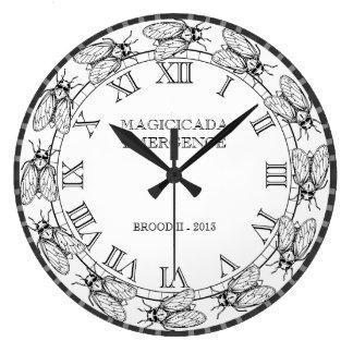 Cigarra - Magicicada - aparición del insecto asomb Reloj Redondo Grande