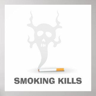 Cigarrillo con el humo del scull poster antifumad
