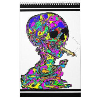 Cigarrillo que fuma del cráneo de Calavera de Van Calendario De Pared