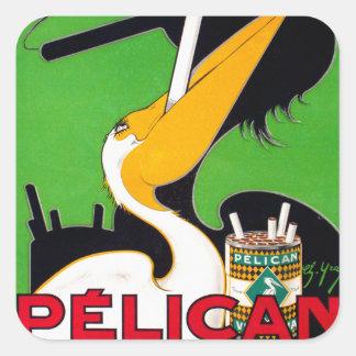 Cigarrillos retros de la marca del pelícano del pegatina cuadradas personalizadas