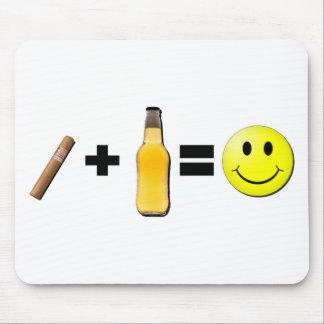 Cigarro + Cerveza felicidad Tapetes De Ratones