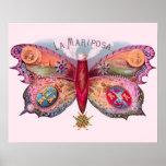 Cigarro de la mariposa del vintage póster