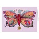 Cigarro de la mariposa del vintage tarjeta de felicitación