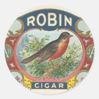 Cigarro del petirrojo pegatina redonda