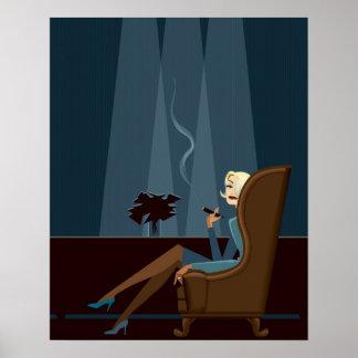 Cigarro que fuma de la empresaria póster