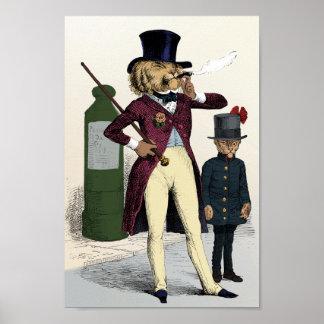Cigarro que fuma del león excelente del Victorian Poster