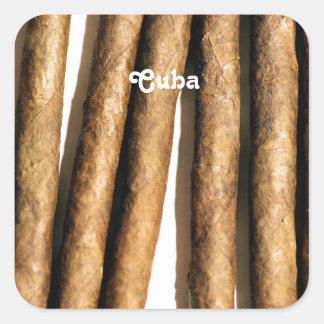 Cigarros cubanos pegatinas cuadradas personalizadas