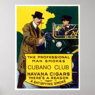 Cigarros del club de Cubano del vintage Póster