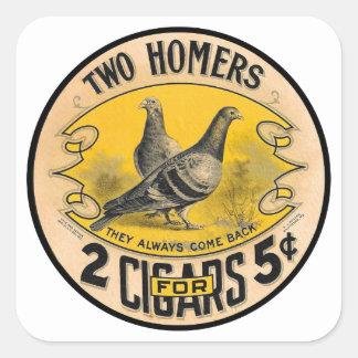 Cigarros del vintage dos home run para la etiqueta