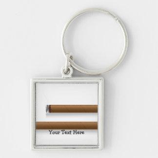 Cigarros (personalizados) llavero cuadrado plateado
