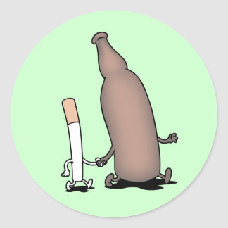 Cigs-n-Beer Classic Round Sticker