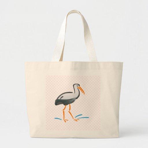 Cigüeña achaparrada bolsa tela grande
